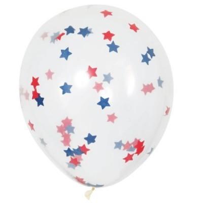 Conj. 6 Balões Grandes Confetis Estrelas Vermelho e Azul Escuro