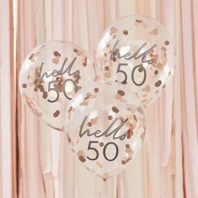 Conj. 5 Balões Confetis Hello 50