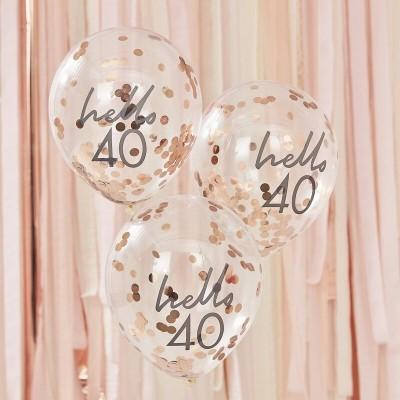 Conj. 5 Balões Confetis Hello 40