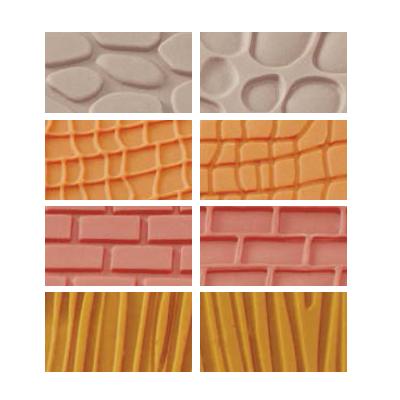 Conj. 4 Tapetes Marcadores - Tijolo, Madeira, Pedra e Pele