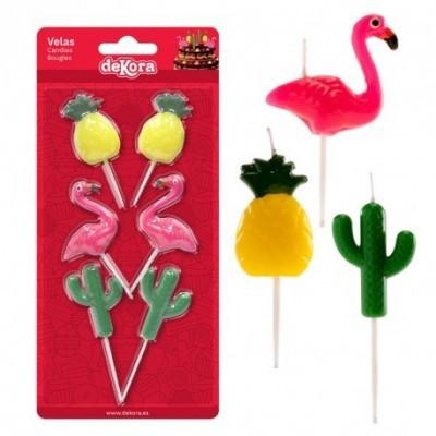Conj. 6 Velas 3D Flamingo e Ananás