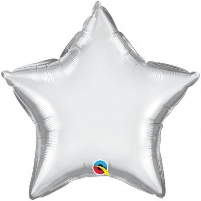 Balão Estrela Prateado Cromado