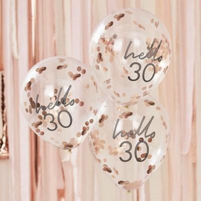 Conj. 5 Balões Confetis Hello 30