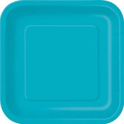 Pratos Azul Turquesa Quadrados