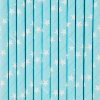 Palhinhas Azul Claro Estrelas -  Conj. 25