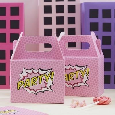 Conj. 5 Caixas Super Heróis Rosa