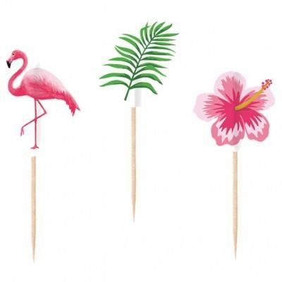 Toppers Flamingos, Flores e Folhas
