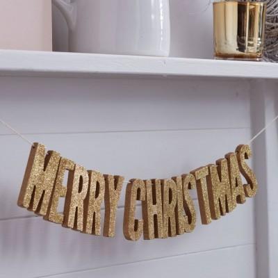 Grinalda Madeira Merry Christmas Dourada