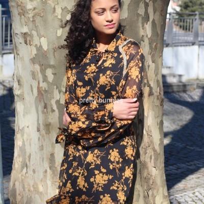 Vestido Floral C/ Cordão Dourado