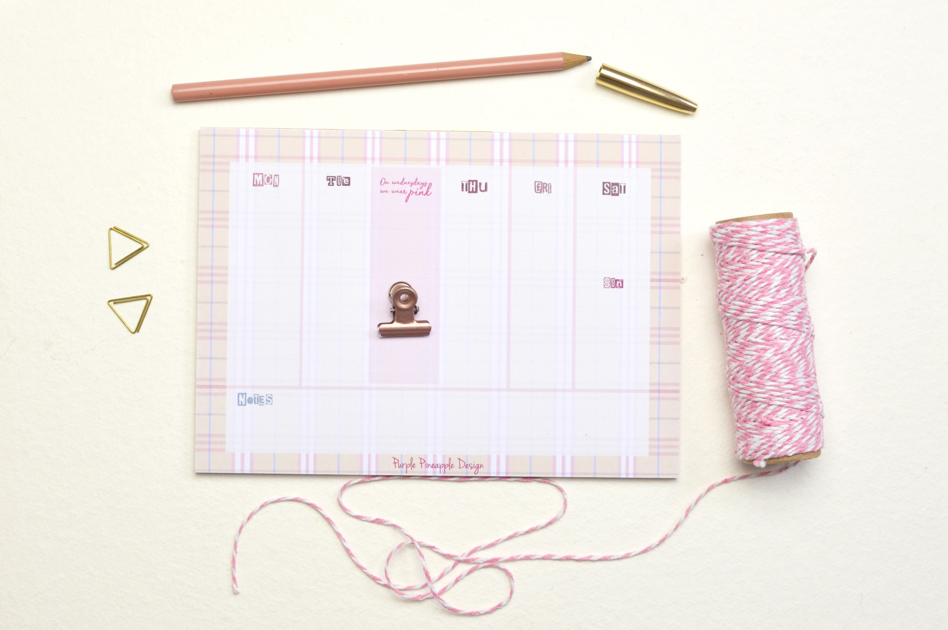 On Wednesdays we wear pink! - Planner Semanal