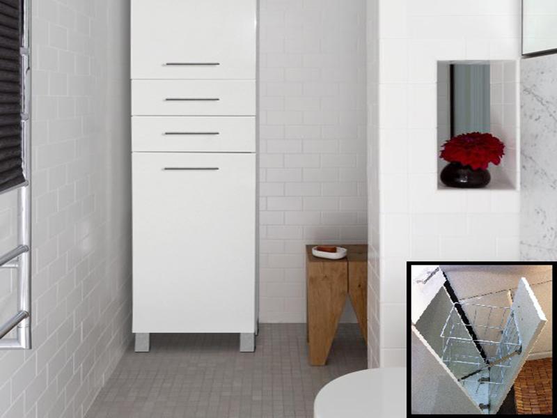 Armário de Casa de Banho com Cesto para a Roupa
