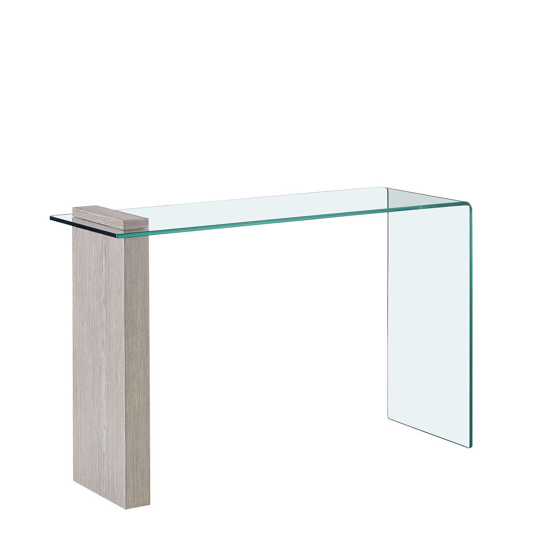 Consola em Vidro temperado e madeira
