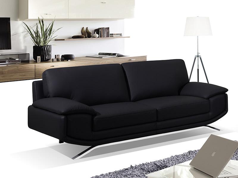 Sofá de 3 lugares em polipele - 3 cores disponíveis