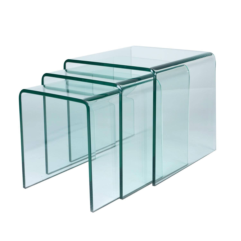Conjunto de 3 Mesinha de Apoio em vidro