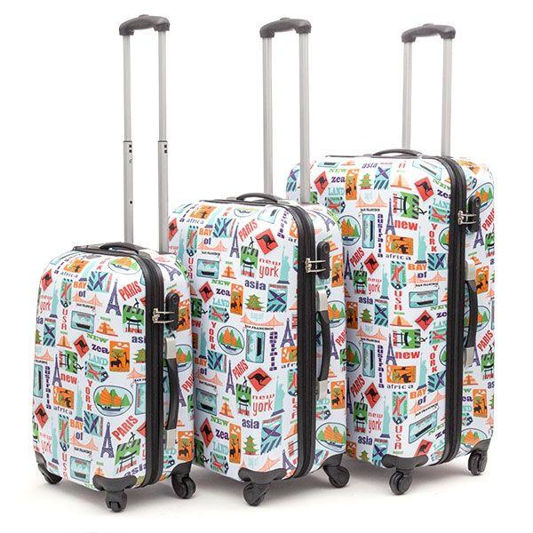 Conjunto de 3 Malas de Viagem, 4 rodas - 2 designs