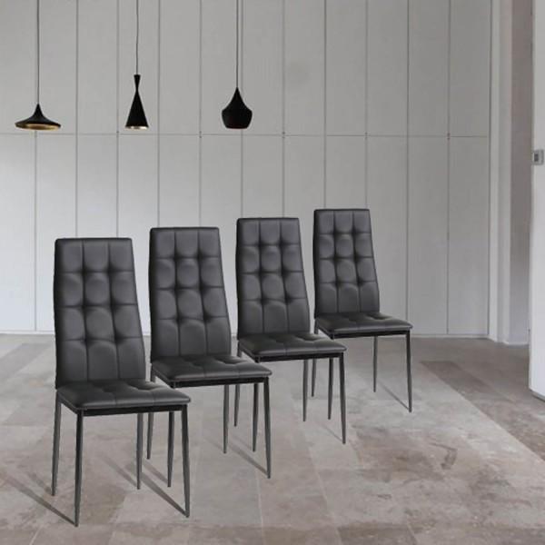 Conjunto de 4 Cadeiras polipele pretas