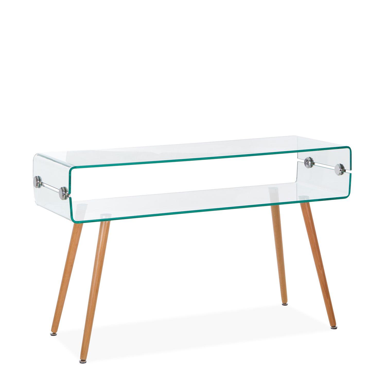 Mesa Consola em Vidro temperado com pernas