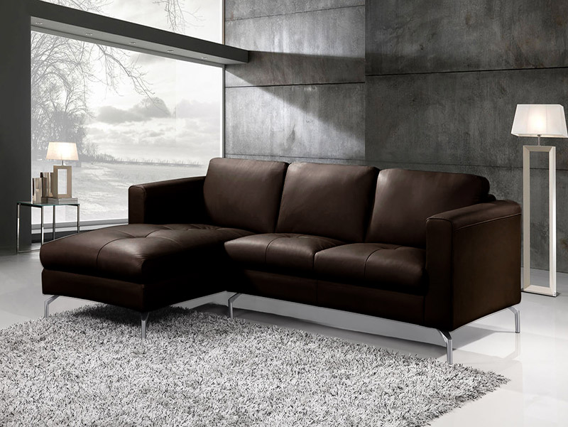 Sofá Chaise-Long Pele sintética - 2 Cores disponíveis