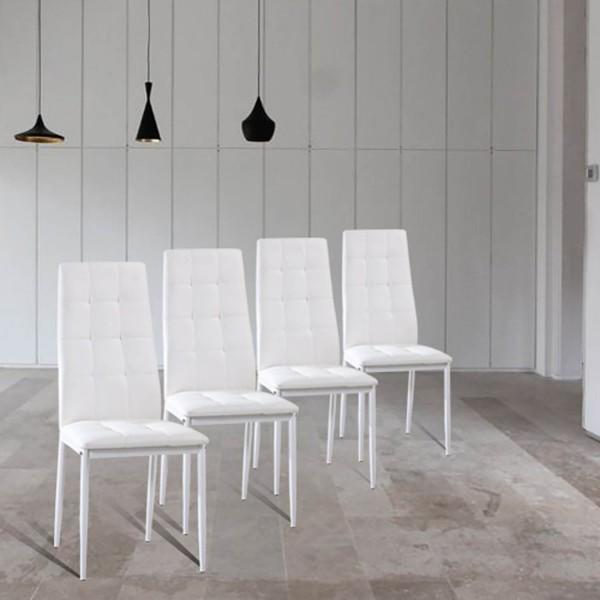 Conjunto de 4 Cadeiras polipele brancas