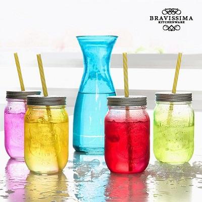 Conjunto Garrafa com 4 Frascos para Bebidas Vintage