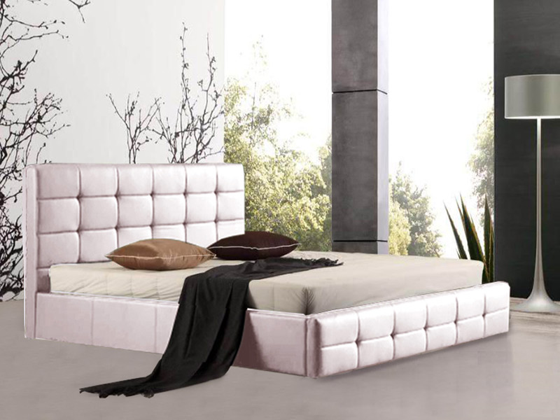 Cama de Casal Square branco rosado - 3 medidas disponíveis