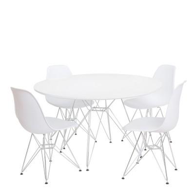 Mesa de Refeições Tend Large - 120cm diâmetro, vidro, branco ou bege