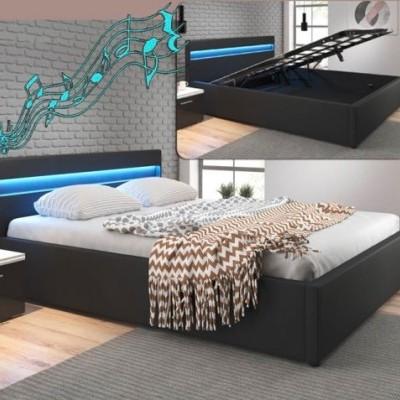 Cama de casal, com arrumação, luz LED e Colunas integradas