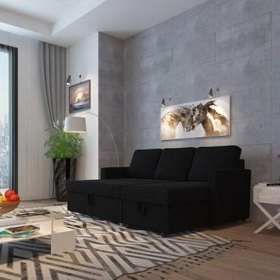 Sofá Chaise e Cama tecido - 3 Cores disponíveis
