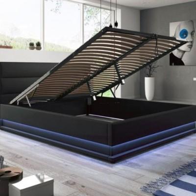 Cama de Casal com Arrumação e Luz LED - Disponível em 2 cores