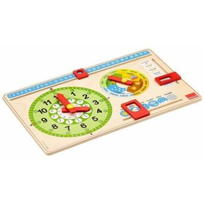Relógio calendário de madeira
