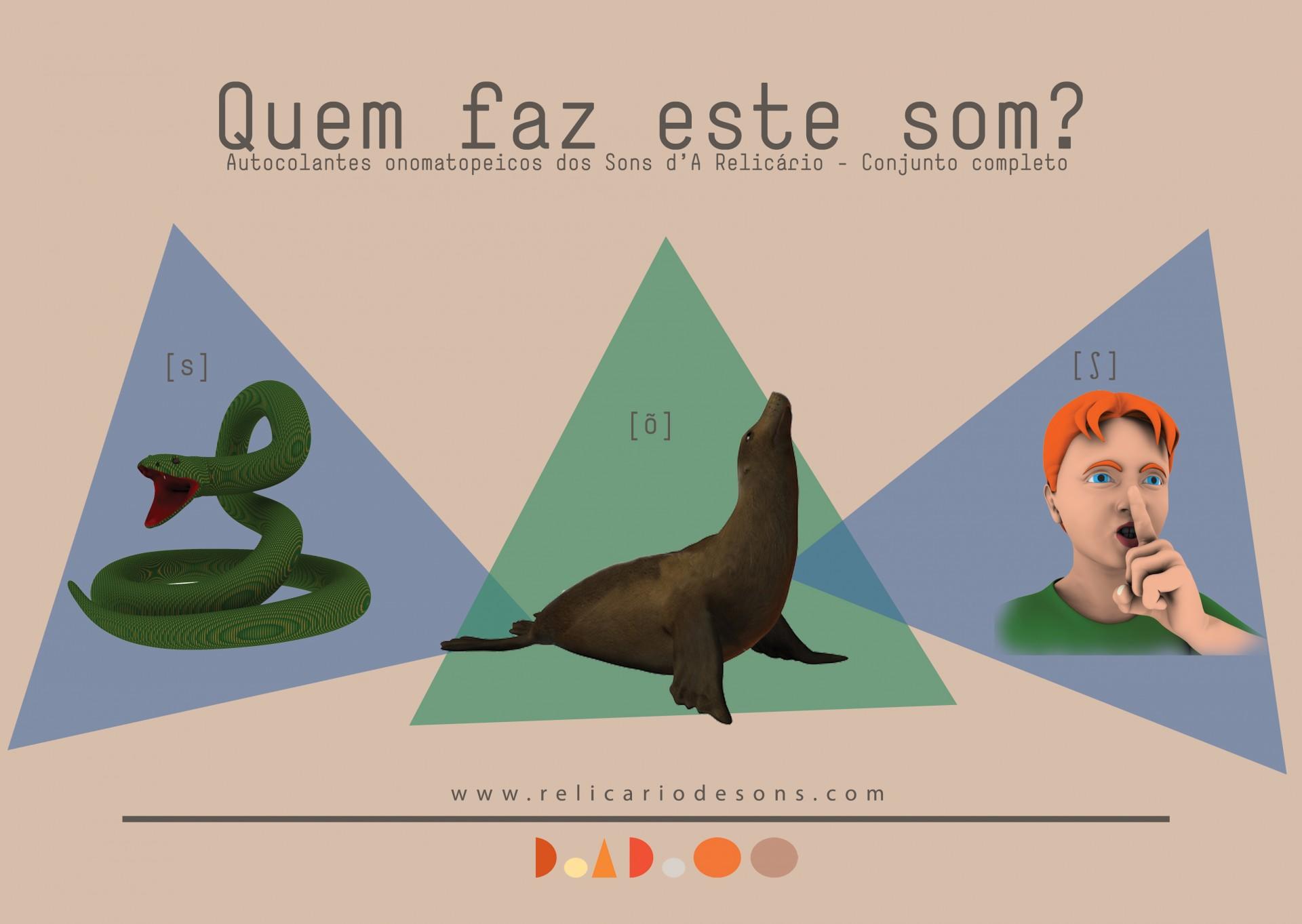 """Quem faz este som? Palavra, Sílaba ou Segmento? Autocolantes das Onomatopeias e das Formas Geométricas de """"Os Sons d'A Relicário"""""""