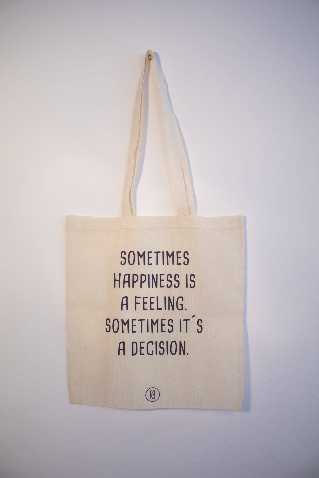 Tote Bag Bege | Sometimes Happiness Is a Feeling