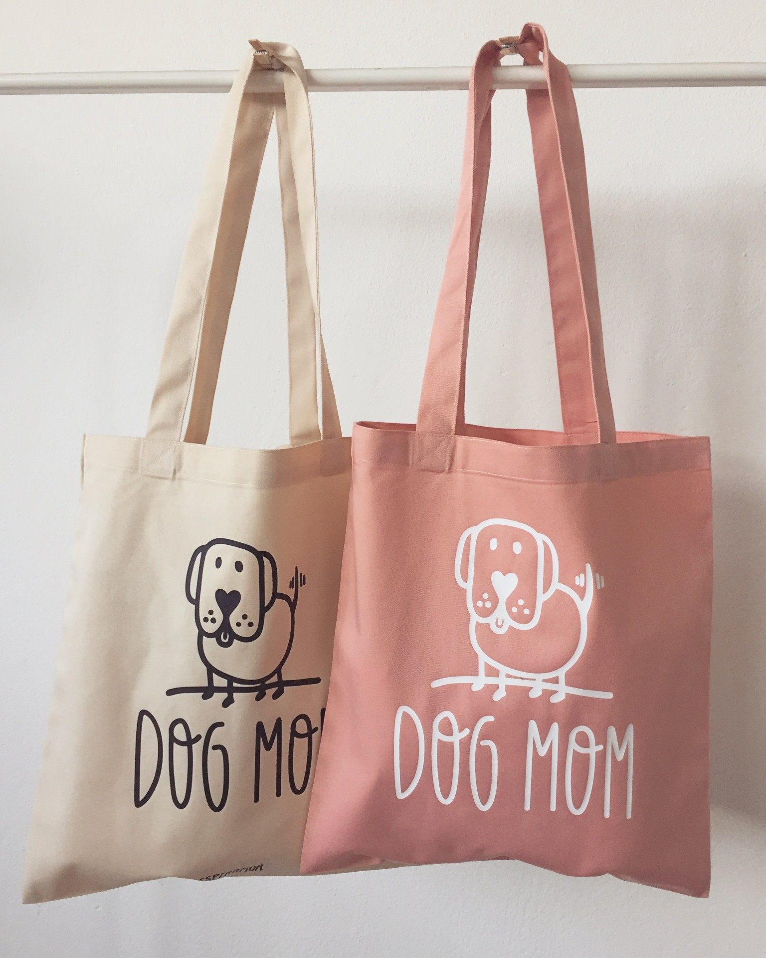 Tote Bag Bege Dog Mom
