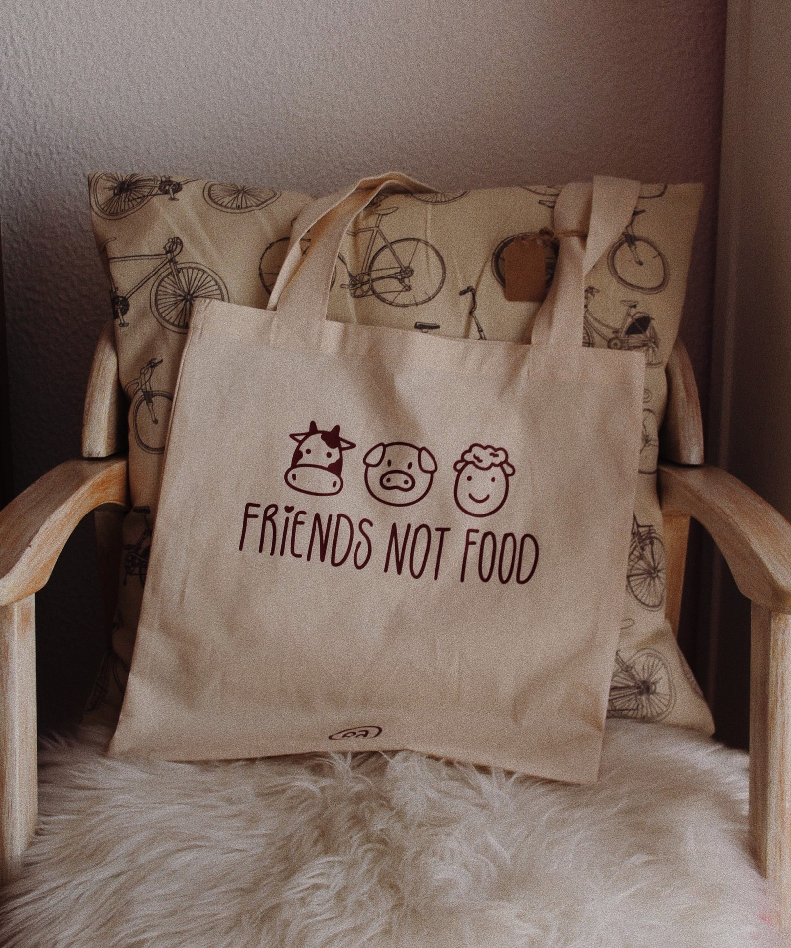 Tote Bag Bege Friends Not Food