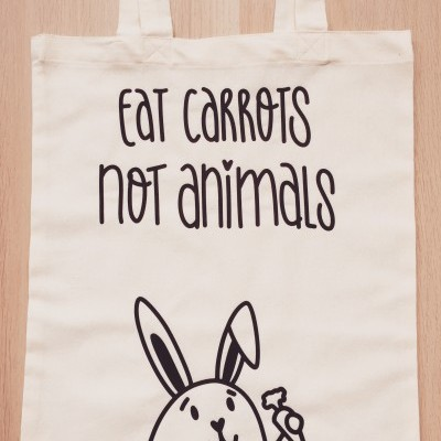 Tote Bag Bege | Eat Carrots Not Animals