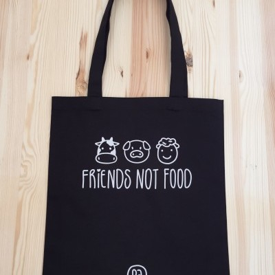 Tote Bag Preto Friends Not Food