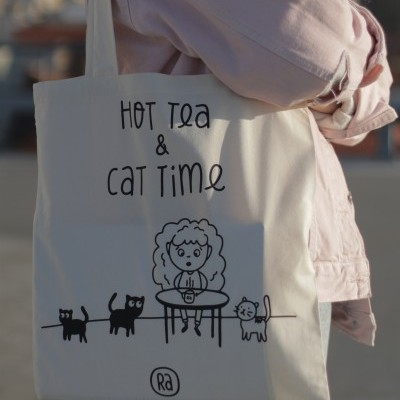Tote Bag Hot Tea & Cat Time