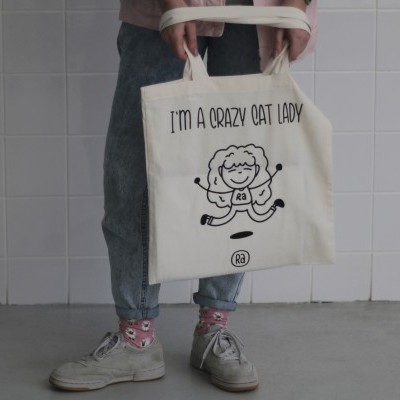 Tote Bag Bege | Crazy Cat Lady