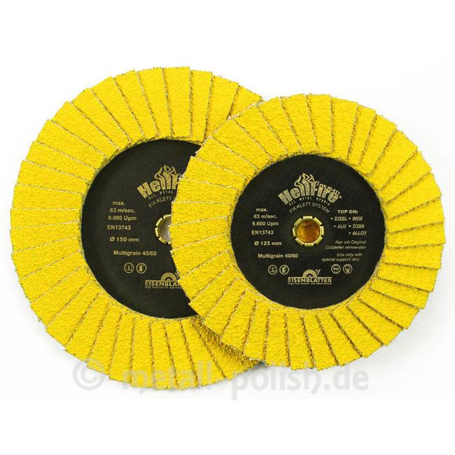 "Discos de lamelas c/ velcro FIX KLETT HELLFIRE® 125 x 10 mm, Multigrão 40/60 "" kits de 10 unid."""