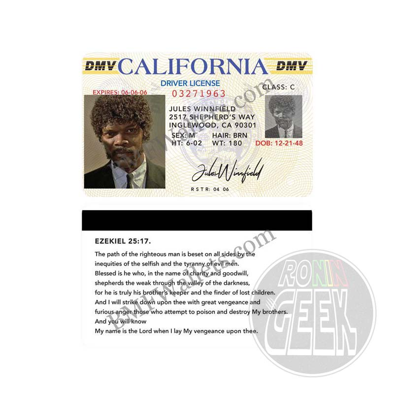 Pulp Fiction Bad Mother Fucker Driver's license Jules Winnfield
