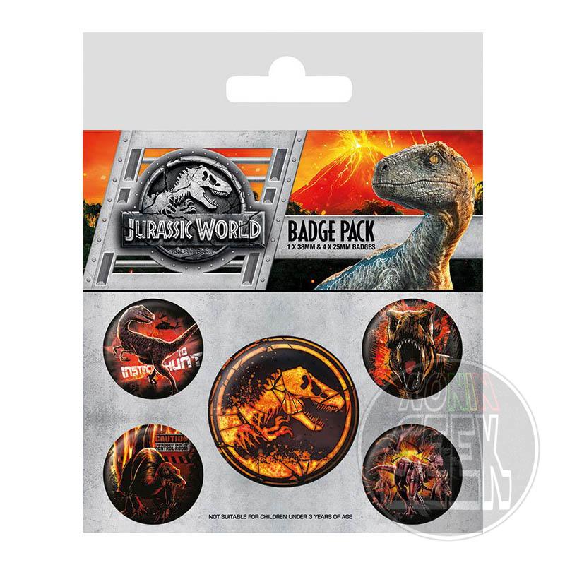 Jurassic World Fallen Kingdom Pin Badges 5-Pack