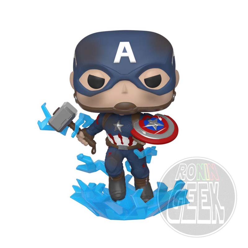 FUNKO POP! Avengers Endgame - Captain America with Broken Shield & Mjolnir