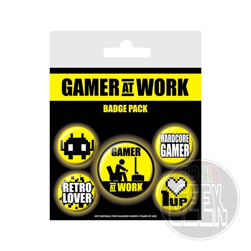 Gaming Gamer at Work set 5 Pin Badges
