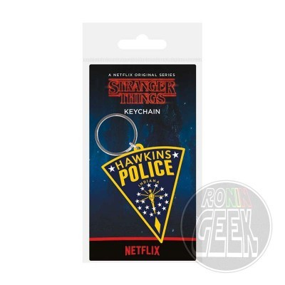 Stranger Things Rubber Keychain Hawkins Police