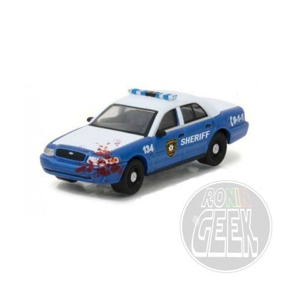 GREENLIGHT COLLECTIBLES Walking Dead Diecast Model 1/64 2001 Ford Crown Police Interceptor Bloody Lootchest Exclusive