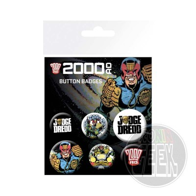 2000 AD Judge Dredd badge 6-pack