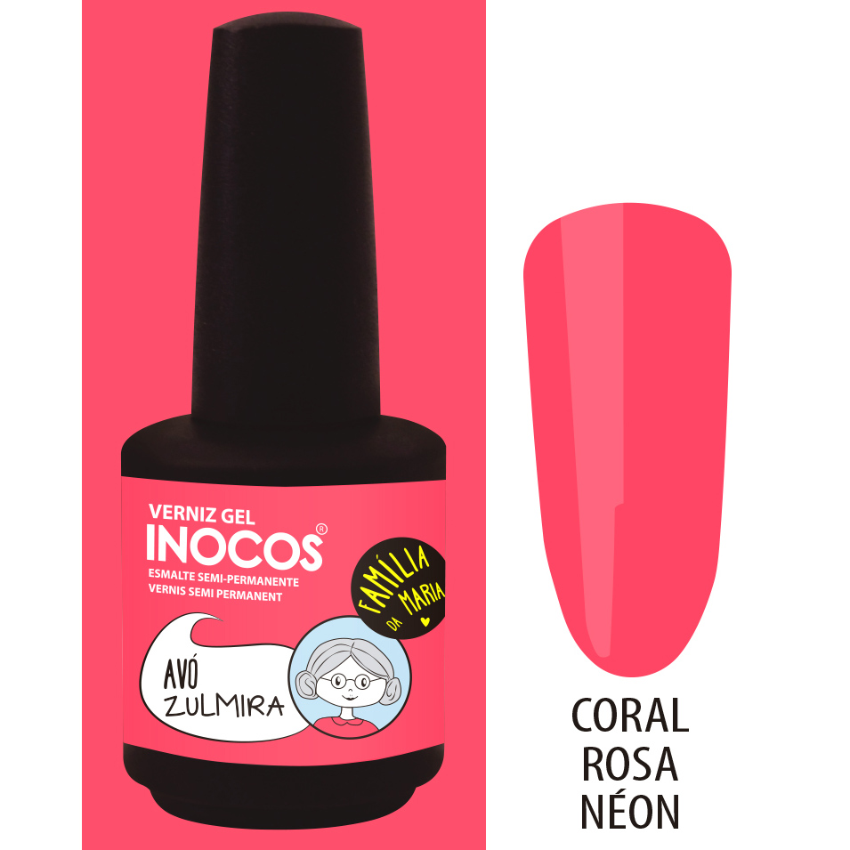 Verniz Gel Inocos – 193 - Avó Zulmira (Coral Rosa Néon)