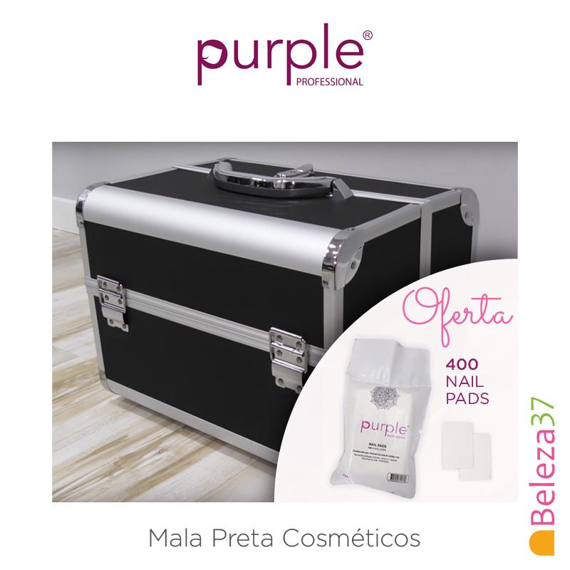 Mala Preta Cosméticos Purple + OFERTA de 400 Nail Pads
