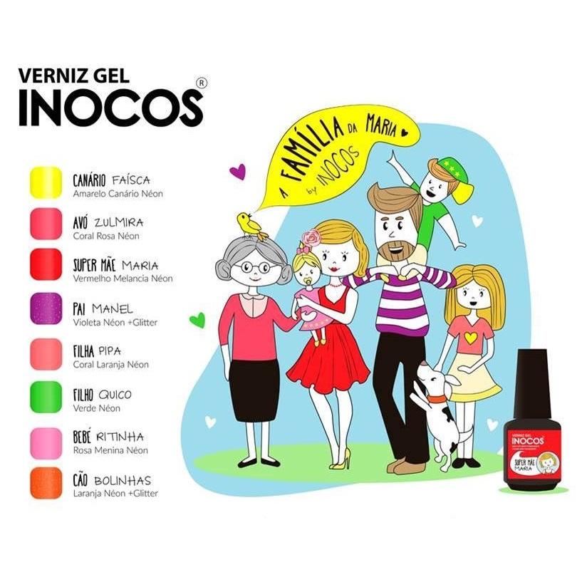 """Verniz Gel Inocos — Coleção """"A Família da Maria"""" — 8 Cores"""