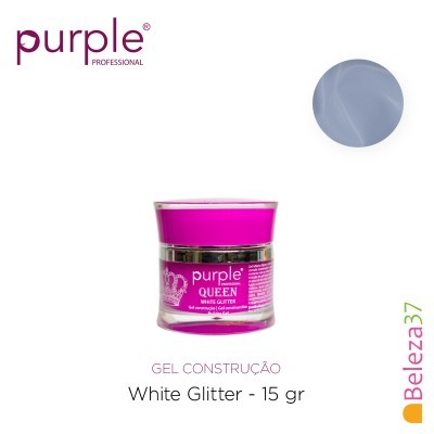 Gel Construtor Purple Queen White Glitter – Branco com Glitter 15g